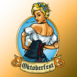 Pretty Bavarian girl label Royalty Free Stock Images