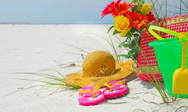 Pretty beach accessories Stock Photography