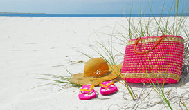 Pretty beach items Stock Images