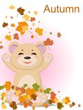 A pretty bear with a smile is pleased with the arrival of autumn and the fallen yellow leaves from the trees. Illustration Royalty Free Stock Photography