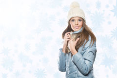 Pretty beautiful brunette in background of snowfall.  royalty free stock photography