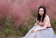 Free Pretty Beautiful Cute Asian Chinese Woman Girl Feel Freedom Sweet Dream Pray Flower Field Autumn Fall Park Grass Lawn Hope Nature Royalty Free Stock Images - 129521289