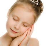 Pretty beautiful girl dreaming with closed eyes Royalty Free Stock Image