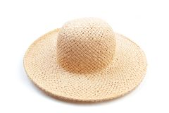 Pretty beautiful straw hat  on white background beach hat from a side view isolated - Image. Pretty beautiful straw hat  on white background beach hat from a royalty free stock photography