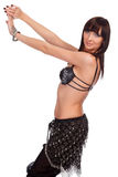 Pretty belly dancer in black costume Royalty Free Stock Photo