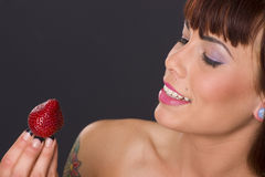 Pretty Berry Woman Holds Raw Fruit Food Stock Photography