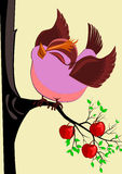 Pretty Bird. Cute pretty bird on apple tree vector background Stock Images