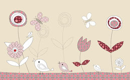 Pretty birds patchwork story, illustration Royalty Free Stock Image