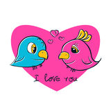 Pretty birds for t-shirt print. Birds love. I love you postcard vector illustration