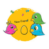 Pretty birds for t-shirt print. 3 birds are waiting chicks. Cute girls design royalty free illustration