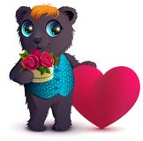 Pretty black bear holds basket bouquet red rose and red heart symbol of love. Gift for Valentines Day. Isolated on white vector cartoon illustration Royalty Free Stock Image