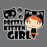 Pretty black cat girl with cat head  cartoon illustration for halloween card design. Wallpaper and kid t-shirt design Royalty Free Stock Photography