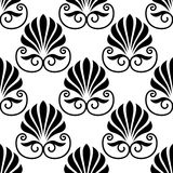 Pretty black fan shaped floral motif seamless Royalty Free Stock Photos
