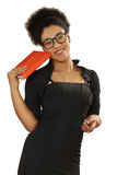Pretty black girl in glasses with a notebook and pen in the hand Stock Photography
