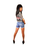 Pretty black girl in shorts. Stock Image
