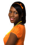 Pretty Black Teen Girl. Black teen female portrait with pretty smile and smooth skin Royalty Free Stock Images
