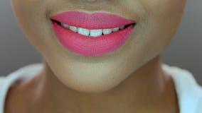 Pretty black woman, pink matte lipstick stock video
