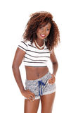 Pretty black young woman standing. Stock Photos