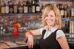 Pretty Blond in Bar Stock Images