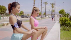 Pretty blond and brunette female friends stretch. On stone wall with cars parked behind them stock video footage