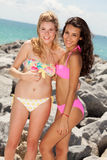 Pretty blond and brunette girls Royalty Free Stock Image
