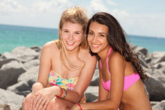 Pretty blond and brunette girls Stock Images