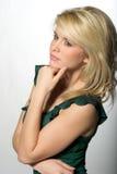 Pretty blond Caucasian woman - thinking royalty free stock photos