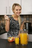 Pretty Blond Eating Healthy Food Stock Photos