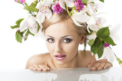 Pretty blond with flower crown on head Stock Photography