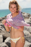 Pretty blond girl at the beach Stock Photography