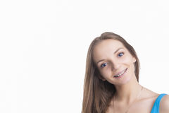 Pretty Blond Girl With Brackets on Her Teeth Stock Images