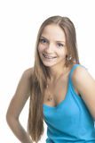 Pretty Blond Girl With Brackets on Her Teeth Royalty Free Stock Photos