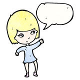 Pretty blond girl cartoon Stock Photography