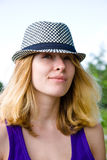 pretty blond girl in hat Royalty Free Stock Photo