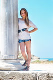Pretty blond girl outdoors Royalty Free Stock Photos