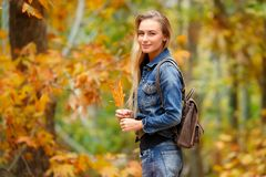 Pretty girl in autumn forest Stock Photography