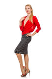 The pretty blond girl wearing red blouse isolated on white Royalty Free Stock Photo