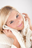Pretty blond girl in white scarf Royalty Free Stock Photo