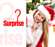 Pretty blond hair girl with santa hat Stock Photos