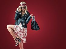 Pretty blond hippe on shopping - sale concept stock images