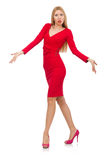 Pretty blond lady in red dress isolated on white Royalty Free Stock Image