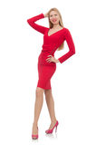 Pretty blond lady in red dress isolated on white Stock Photos