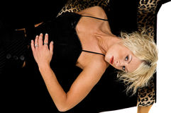 Pretty Blond Laying On Couch royalty free stock images