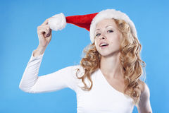 Pretty blond Santa girl Stock Image