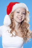 Pretty blond Santa girl Royalty Free Stock Photos