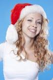 Pretty blond Santa girl Royalty Free Stock Photos