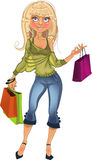 Pretty blond shopping glamur girl Royalty Free Stock Image