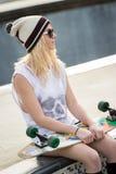 Pretty Blond Skater Girl Royalty Free Stock Photography
