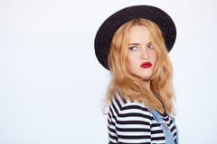 Pretty blond teenager with an impatience and bored expression Royalty Free Stock Photography