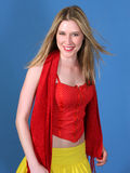 Pretty Blond With Vivid Clothes Royalty Free Stock Photography